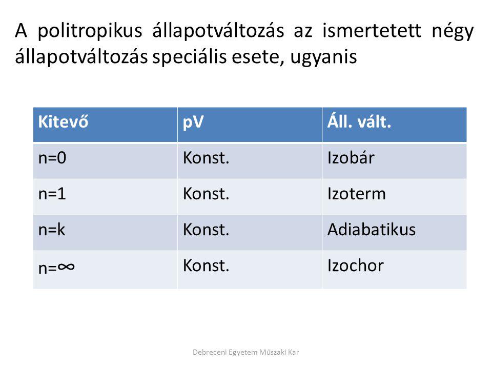 A politropikus állapotváltozás az ismertetett négy állapotváltozás speciális esete, ugyanis Debreceni Egyetem Műszaki Kar KitevőpVÁll. vált. n=0Konst.