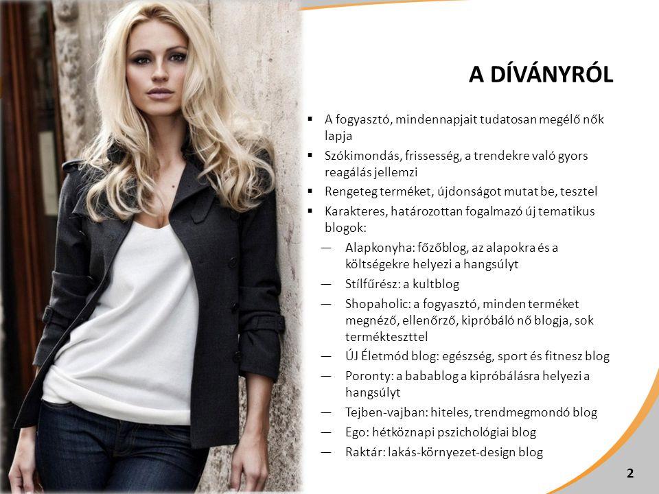  A fogyasztó, mindennapjait tudatosan megélő nők lapja  Szókimondás, frissesség, a trendekre való gyors reagálás jellemzi  Rengeteg terméket, újdon