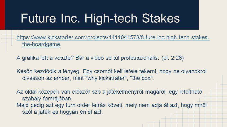 Future Inc. High-tech Stakes https://www.kickstarter.com/projects/1411041578/future-inc-high-tech-stakes- the-boardgame A grafika lett a veszte? Bár a