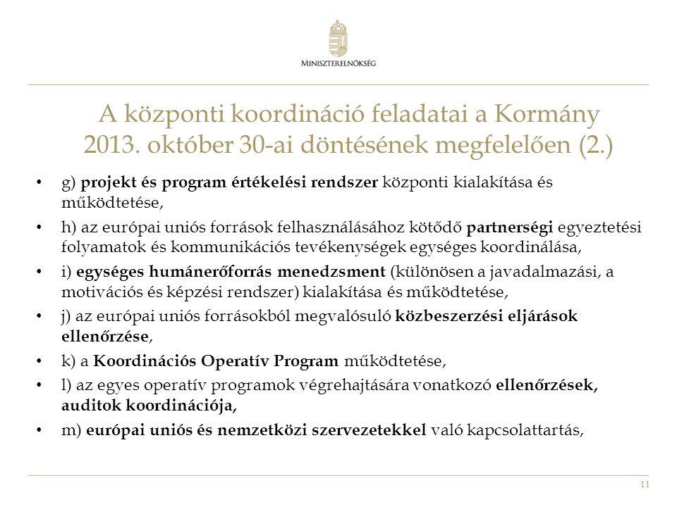 11 • g) projekt és program értékelési rendszer központi kialakítása és működtetése, • h) az európai uniós források felhasználásához kötődő partnerségi