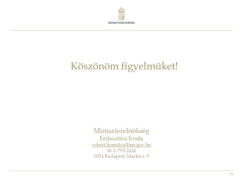 14 Köszönöm figyelmüket! Miniszterelnökség Fejlesztési Iroda robert.homolya@me.gov.hu 06-1-795-2624 1054 Budapest, Markó u. 9
