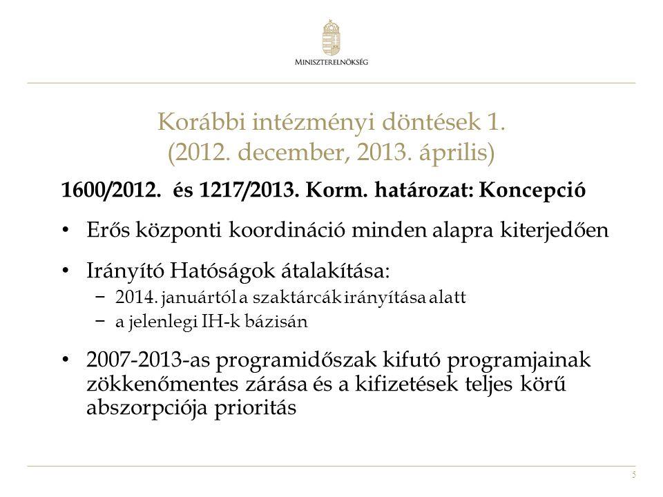 5 Korábbi intézményi döntések 1. (2012. december, 2013. április) 1600/2012. és 1217/2013. Korm. határozat: Koncepció • Erős központi koordináció minde