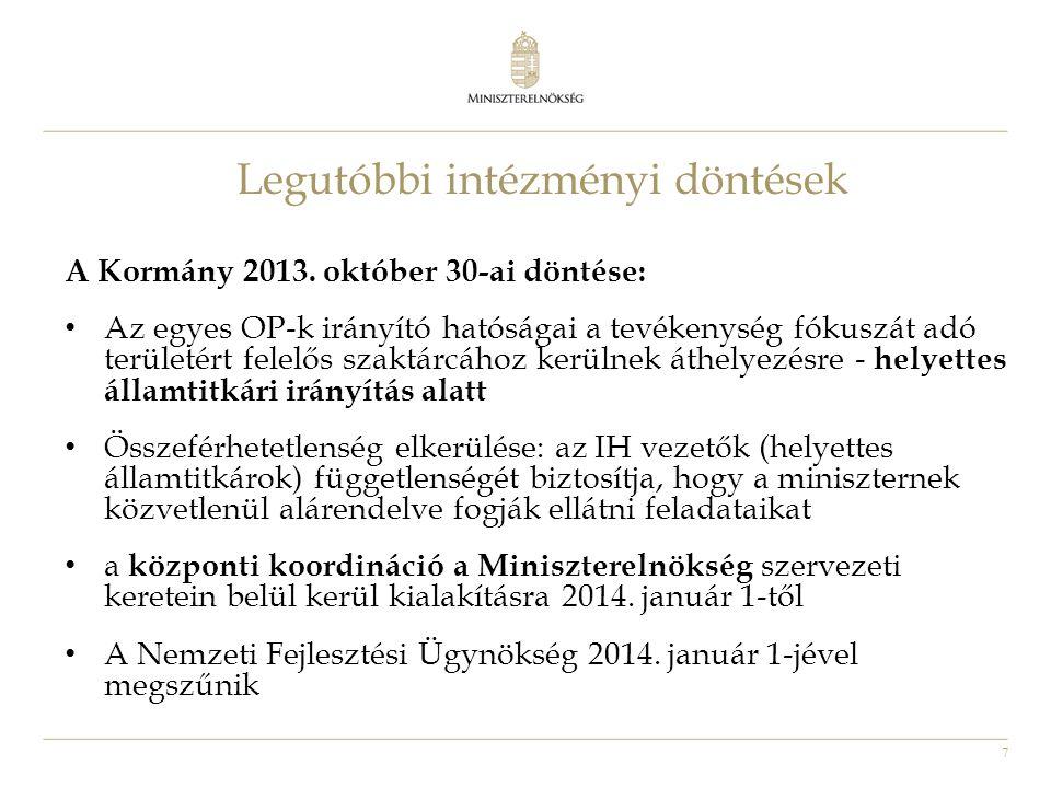 7 Legutóbbi intézményi döntések A Kormány 2013. október 30-ai döntése: • Az egyes OP-k irányító hatóságai a tevékenység fókuszát adó területért felelő