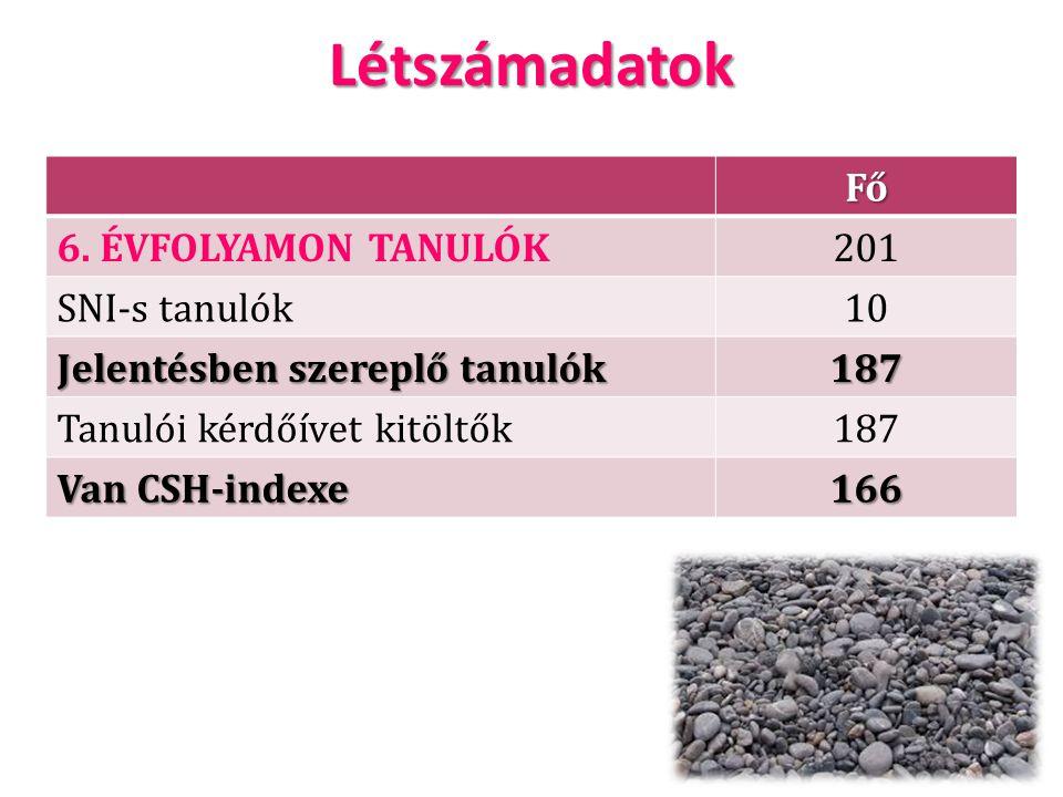 LétszámadatokFő 6. ÉVFOLYAMON TANULÓK201 SNI-s tanulók10 Jelentésben szereplő tanulók 187 Tanulói kérdőívet kitöltők187 Van CSH-indexe 166