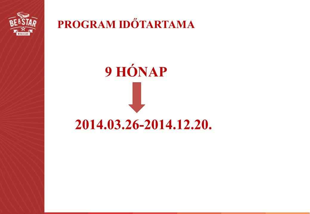 PROGRAM IDŐTARTAMA 9 HÓNAP 2014.03.26-2014.12.20.