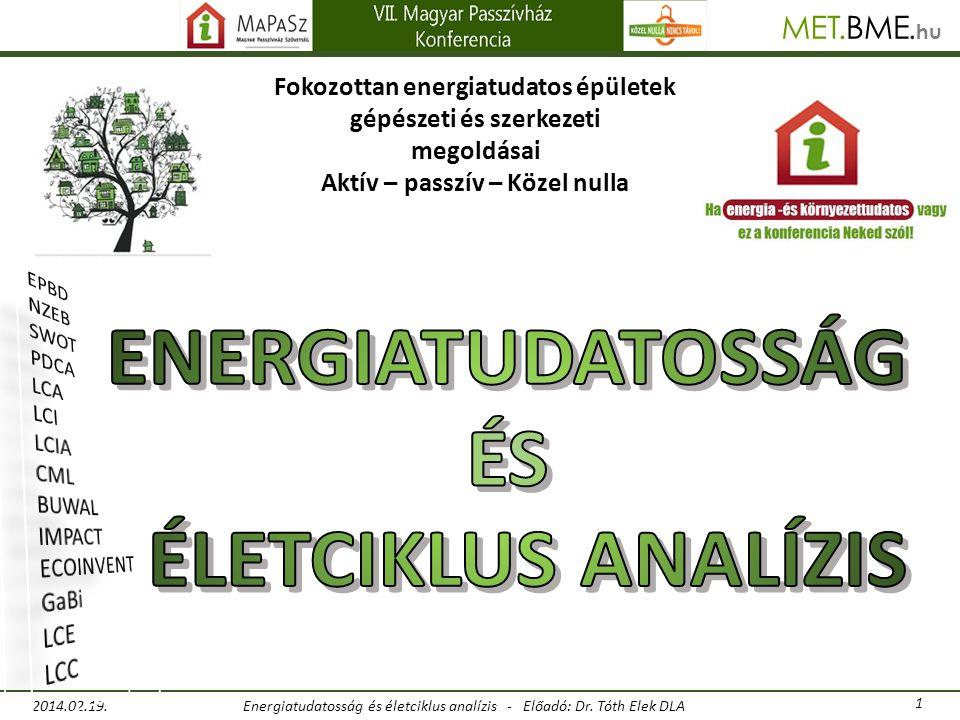 Energiatudatosság és életciklus analízis - Előadó: Dr. Tóth Elek DLA 2014.02.19. 1 BME hu MET..