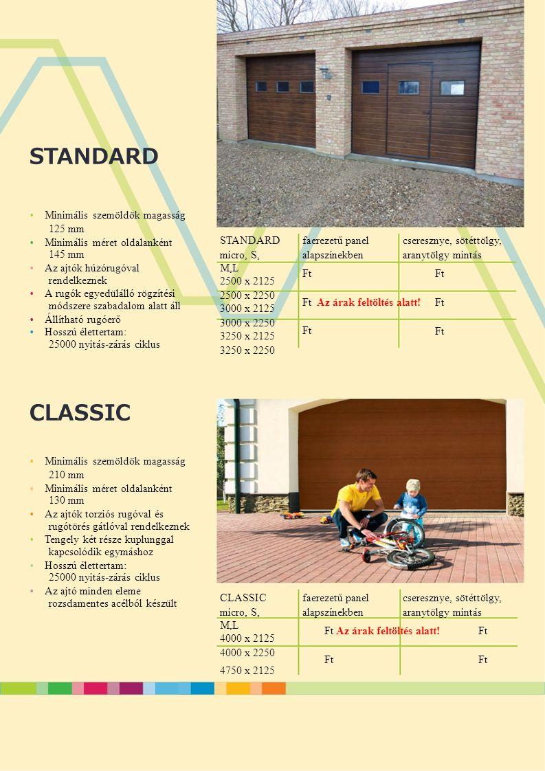 CLASSIC STANDARD • Minimális szemöldök magasság 125 mm • Minimális méret oldalanként 145 mm • Az ajtók húzórugóval rendelkeznek • A rugók egyedülálló