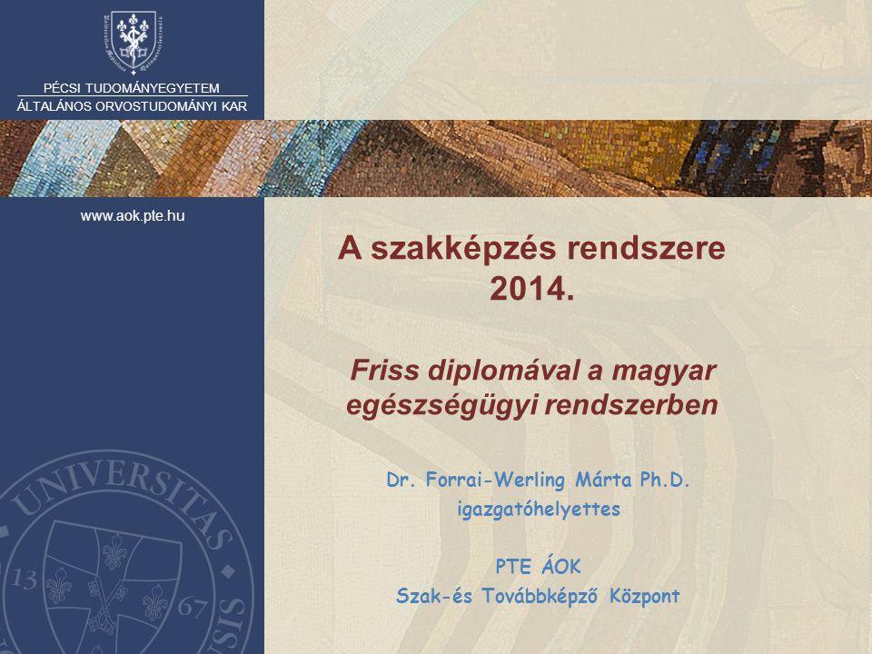 PÉCSI TUDOMÁNYEGYETEM ÁLTALÁNOS ORVOSTUDOMÁNYI KAR www.aok.pte.hu A szakképzés rendszere 2014. Friss diplomával a magyar egészségügyi rendszerben Dr.