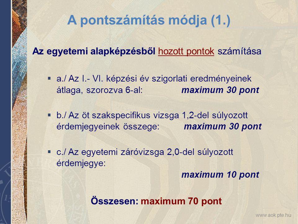 www.aok.pte.hu A pontszámítás módja (1.) Az egyetemi alapképzésből hozott pontok számítása  a./ Az I.- VI. képzési év szigorlati eredményeinek átlaga