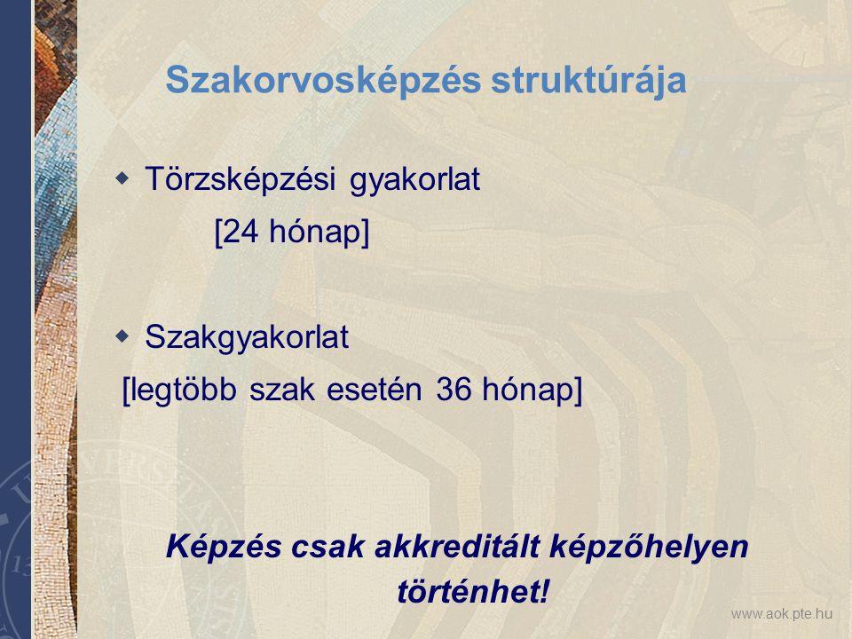 www.aok.pte.hu Szakorvosképzés struktúrája  Törzsképzési gyakorlat [24 hónap]  Szakgyakorlat [legtöbb szak esetén 36 hónap] Képzés csak akkreditált képzőhelyen történhet!