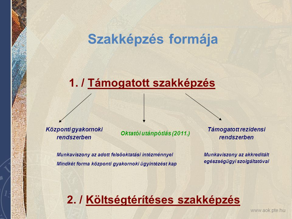 www.aok.pte.hu Szakképzés formája 1./ Támogatott szakképzés 2.