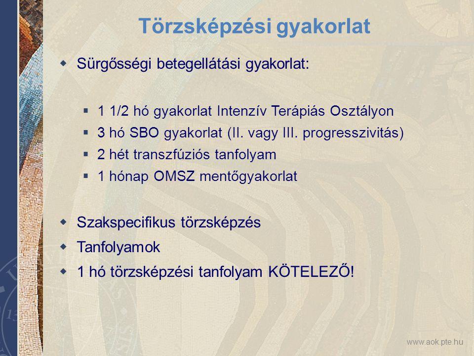 www.aok.pte.hu Törzsképzési gyakorlat  Sürgősségi betegellátási gyakorlat:  1 1/2 hó gyakorlat Intenzív Terápiás Osztályon  3 hó SBO gyakorlat (II.
