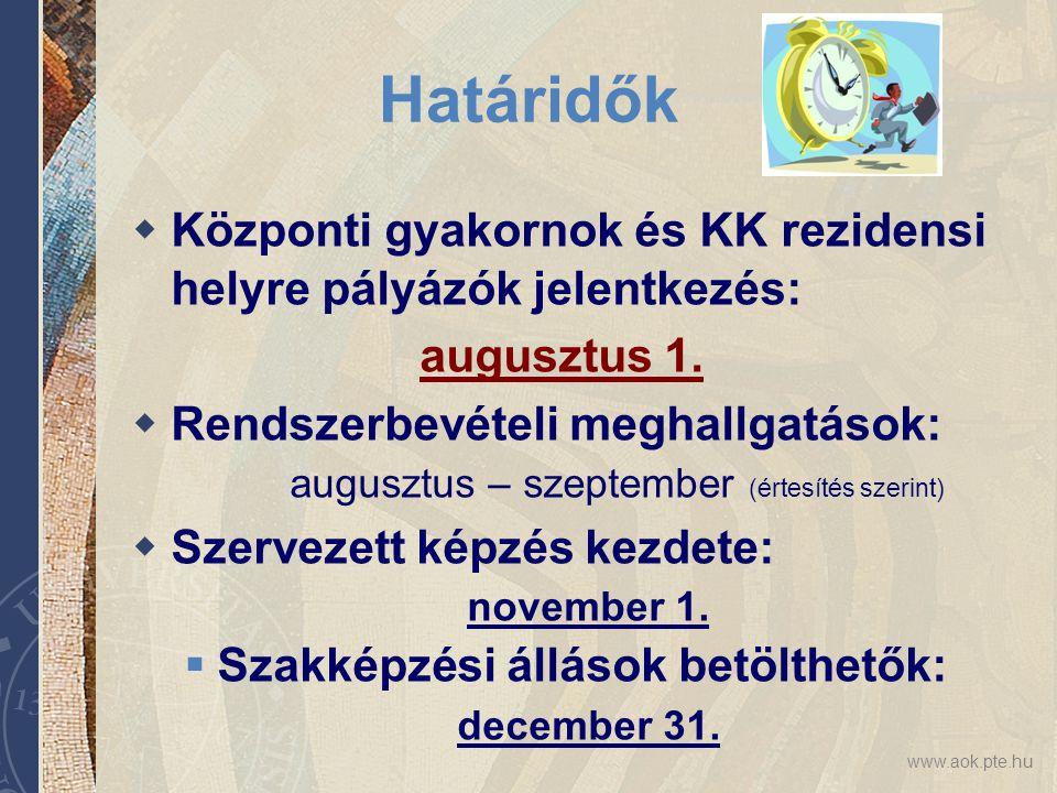 www.aok.pte.hu Határidők  Központi gyakornok és KK rezidensi helyre pályázók jelentkezés: augusztus 1.  Rendszerbevételi meghallgatások: augusztus –