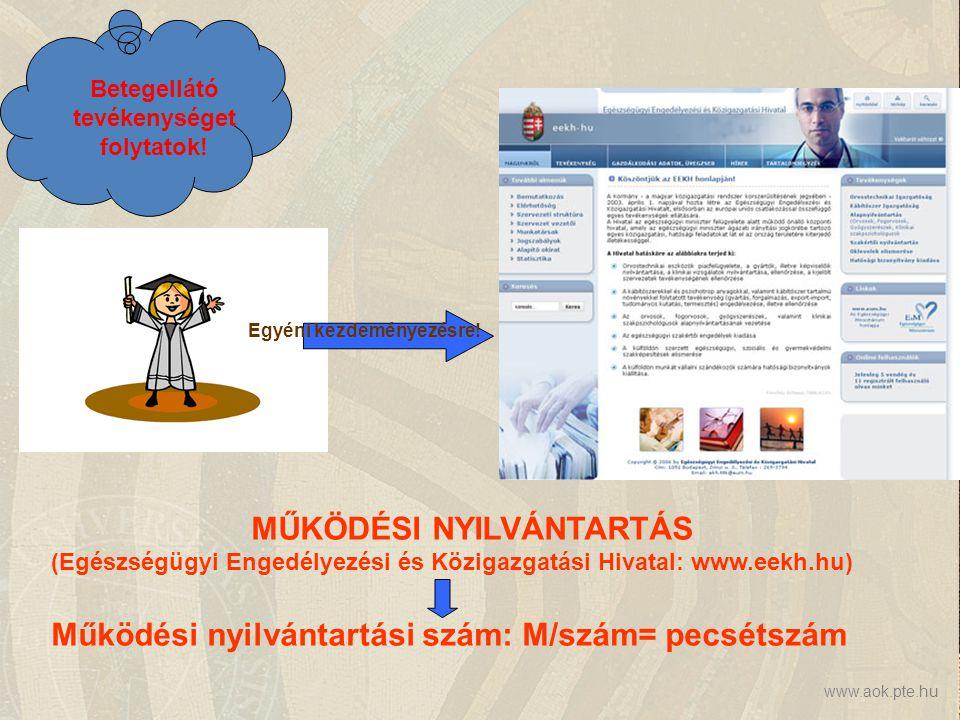 www.aok.pte.hu MŰKÖDÉSI NYILVÁNTARTÁS (Egészségügyi Engedélyezési és Közigazgatási Hivatal: www.eekh.hu) Működési nyilvántartási szám: M/szám= pecsétszám Betegellátó tevékenységet folytatok.