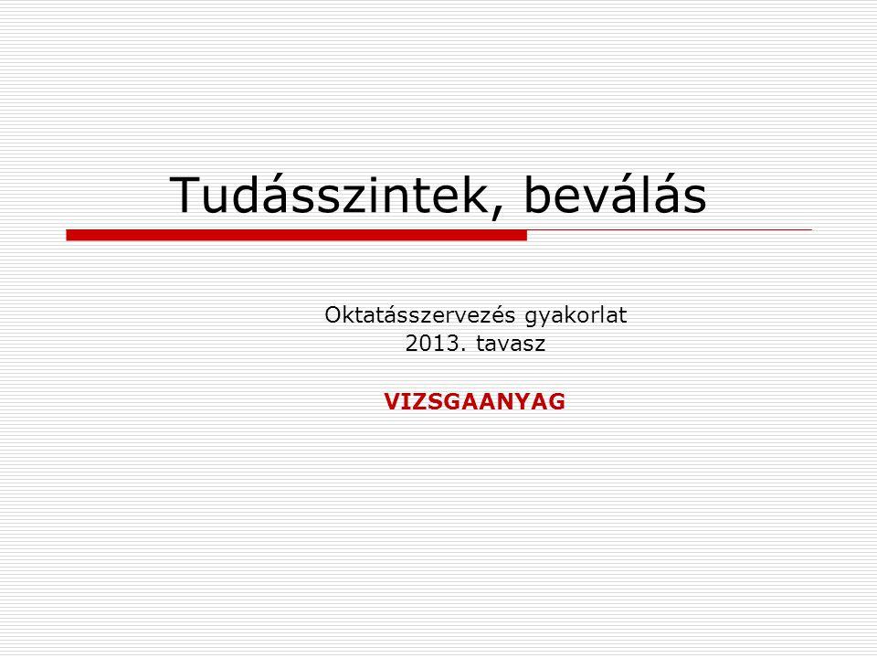 Oktatásszervezés gyakorlat 2013. tavasz VIZSGAANYAG Tudásszintek, beválás