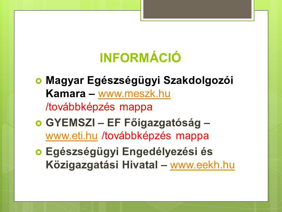 INFORMÁCIÓ  Magyar Egészségügyi Szakdolgozói Kamara – www.meszk.hu /továbbképzés mappawww.meszk.hu  GYEMSZI – EF Főigazgatóság – www.eti.hu /továbbk