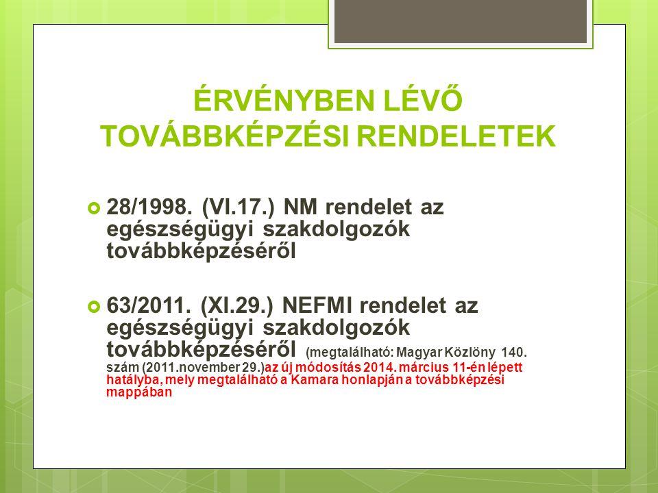ÉRVÉNYBEN LÉVŐ TOVÁBBKÉPZÉSI RENDELETEK  28/1998. (VI.17.) NM rendelet az egészségügyi szakdolgozók továbbképzéséről  63/2011. (XI.29.) NEFMI rendel