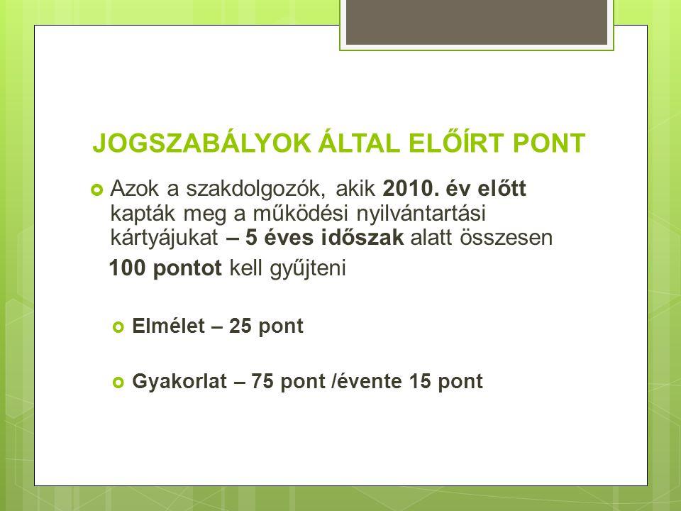 JOGSZABÁLYOK ÁLTAL ELŐÍRT PONT  Azok a szakdolgozók, akik 2010.