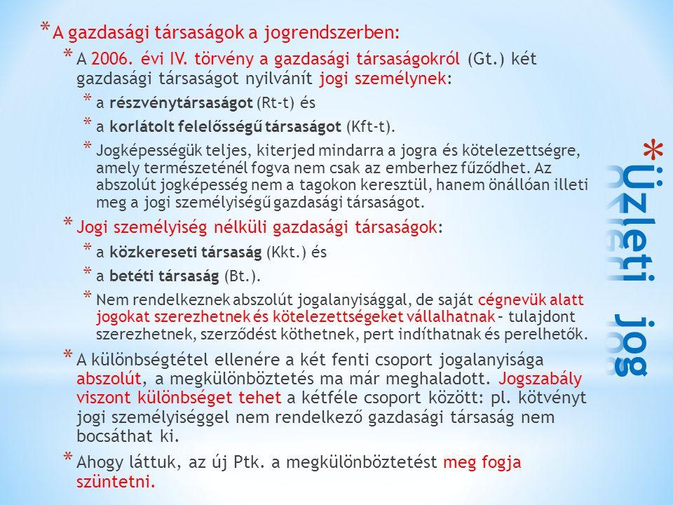 * A gazdasági társaságok a jogrendszerben: * A 2006. évi IV. törvény a gazdasági társaságokról (Gt.) két gazdasági társaságot nyilvánít jogi személyne