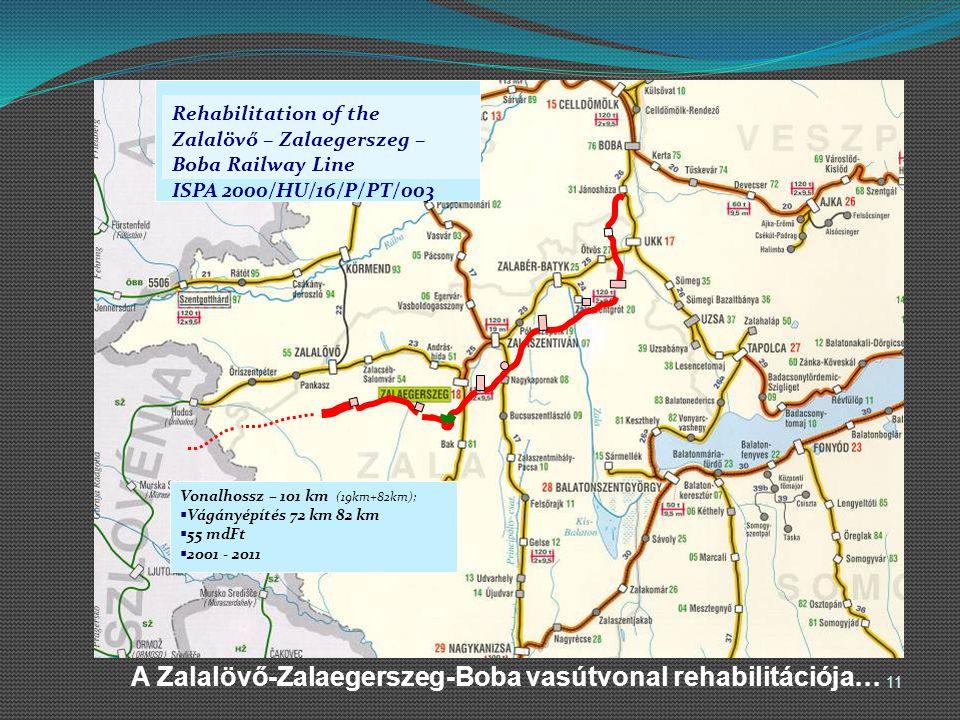 A Zalalövő-Zalaegerszeg-Boba vasútvonal rehabilitációja… Vonalhossz – 101 km (19km+82km);  Vágányépítés 72 km 82 km  55 mdFt  2001 - 2011 Rehabilit