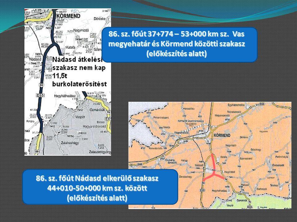 86. sz. főút 37+774 – 53+000 km sz. Vas megyehatár és Körmend közötti szakasz (előkészítés alatt) 86. sz. főút Nádasd elkerülő szakasz 44+010-50+000 k