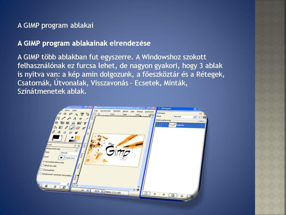 A GIMP program ablakainak elrendezése A GIMP program ablakai A GIMP több ablakban fut egyszerre. A Windowshoz szokott felhasználónak ez furcsa lehet,