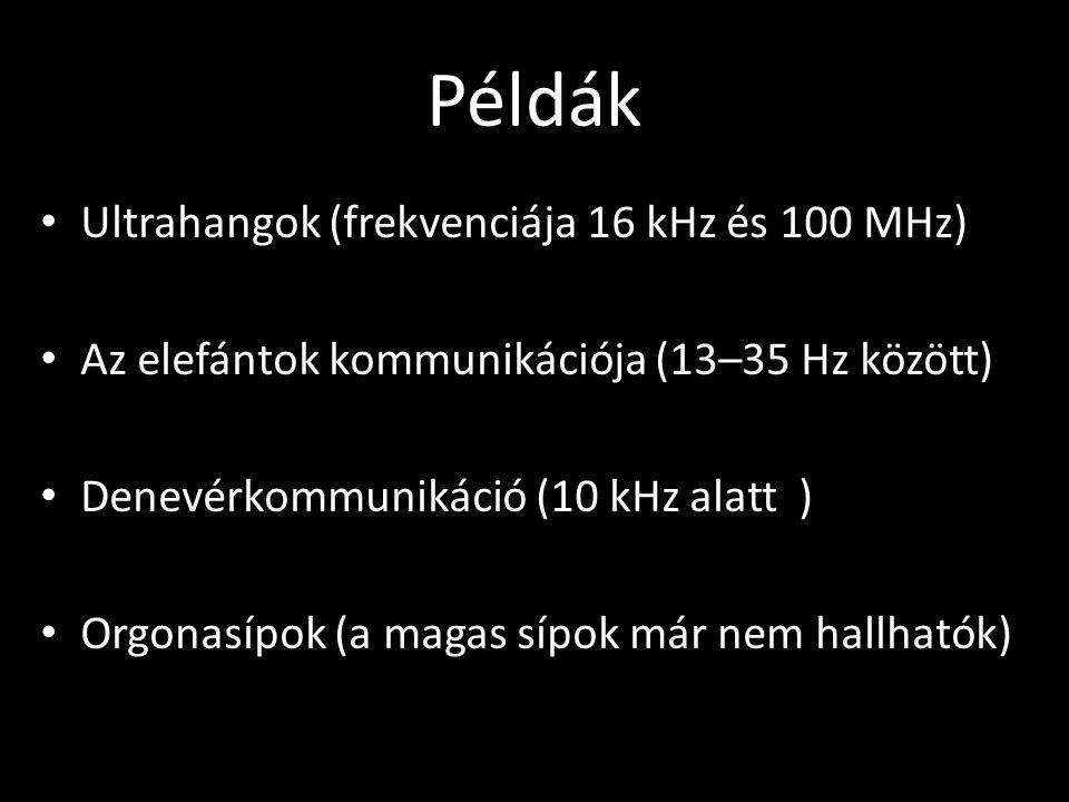 Példák •U•Ultrahangok (frekvenciája 16 kHz és 100 MHz) •A•Az elefántok kommunikációja (13–35 Hz között) •D•Denevérkommunikáció (10 kHz alatt ) •O•Orgo