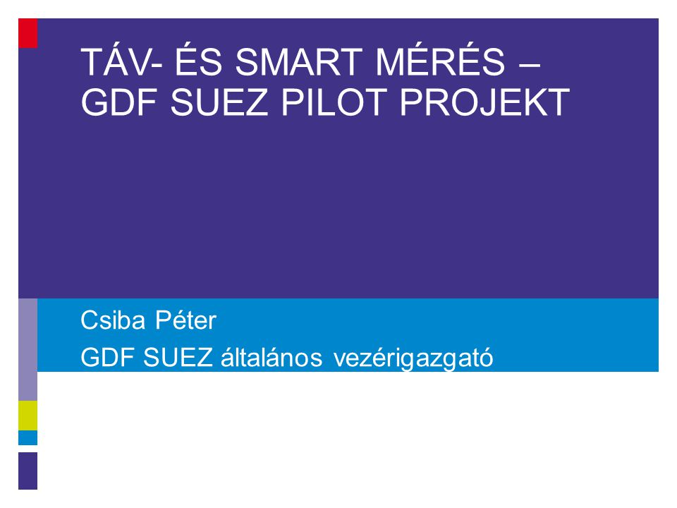 Tartalom 1.Gáz és áram okos mérés: hasonlóság és különbség 2.Méréstechnikai előzmények 3.Elért eredmények: a)Lakossági fogyasztók távleolvasása: 2009 b)ITRON Kártyás előrefizetős rendszer: 2010-2014 c)GDF SUEZ – EDF DÉMÁSZ Smart projekt 2013-2014 d)Elster-Fiorentini PPD: előfizetéses rendszer 2014-től 4.GDF SUEZ kísérleti mintaprojekt: 2014 márciustól 2 2.