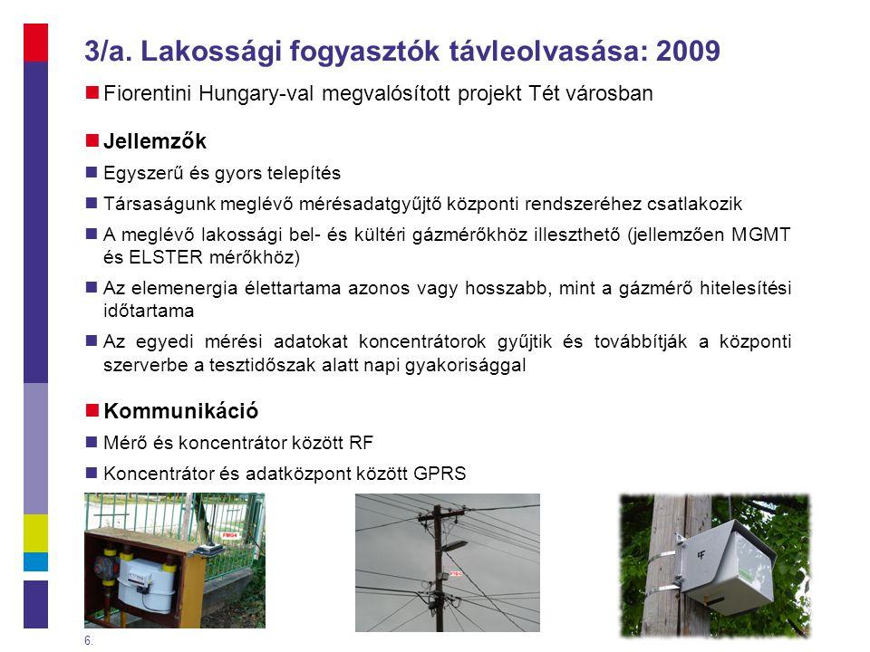 3/a. Lakossági fogyasztók távleolvasása: 2009  Fiorentini Hungary-val megvalósított projekt Tét városban  Jellemzők  Egyszerű és gyors telepítés 