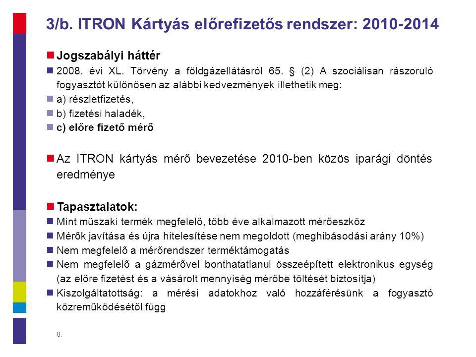 3/b.ITRON Kártyás előrefizetős rendszer: 2010-2014  Jogszabályi háttér  2008.
