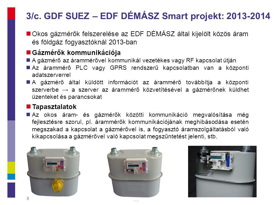 3/c. GDF SUEZ – EDF DÉMÁSZ Smart projekt: 2013-2014  Okos gázmérők felszerelése az EDF DÉMÁSZ által kijelölt közös áram és földgáz fogyasztóknál 2013