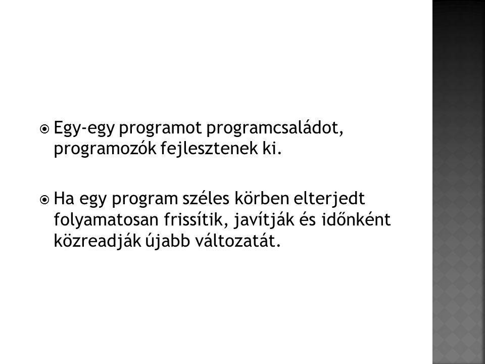  Egy-egy programot programcsaládot, programozók fejlesztenek ki.  Ha egy program széles körben elterjedt folyamatosan frissítik, javítják és időnkén