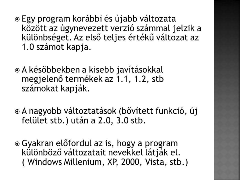  Egy program korábbi és újabb változata között az úgynevezett verzió számmal jelzik a különbséget. Az első teljes értékű változat az 1.0 számot kapja