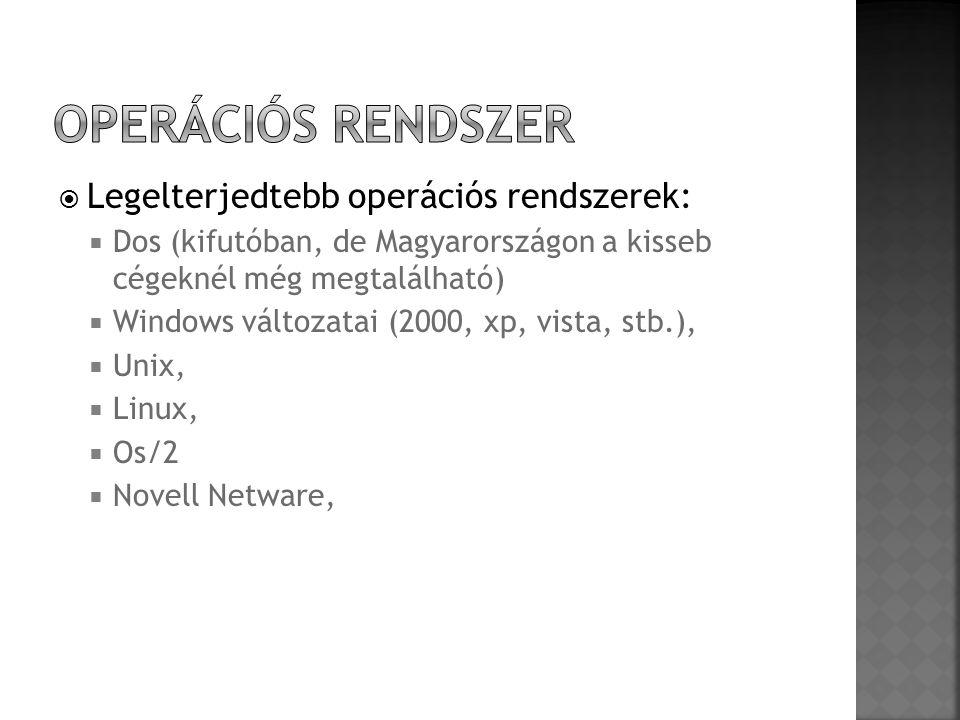  Legelterjedtebb operációs rendszerek:  Dos (kifutóban, de Magyarországon a kisseb cégeknél még megtalálható)  Windows változatai (2000, xp, vista,