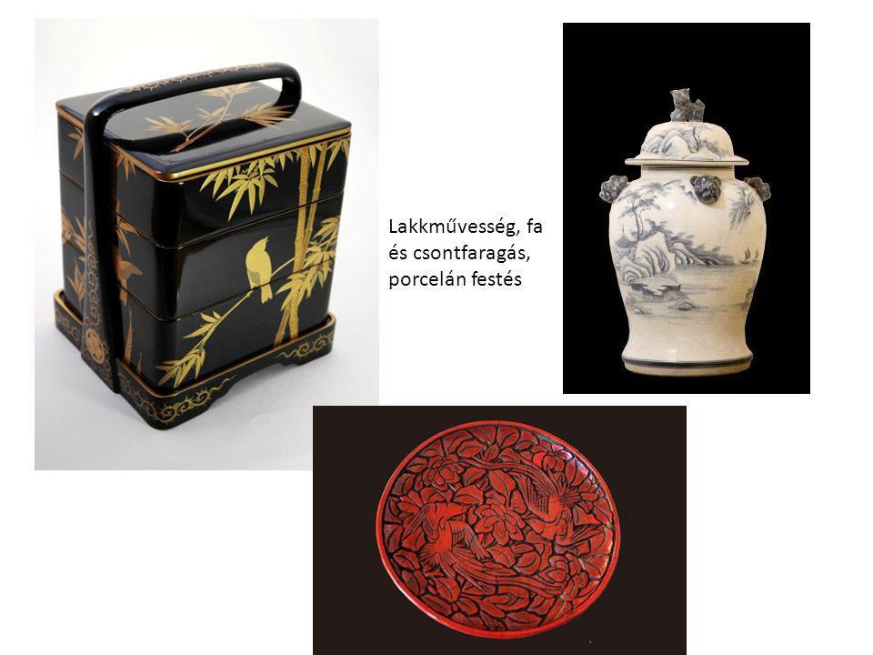 Lakkművesség, fa és csontfaragás, porcelán festés