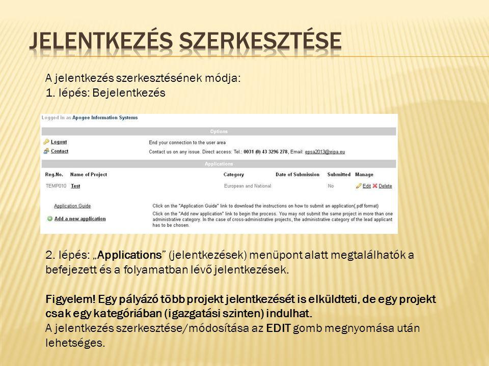 3.lépés: A jelentkezés nevére kattintva láthatóvá válik a kitöltött adatlap.