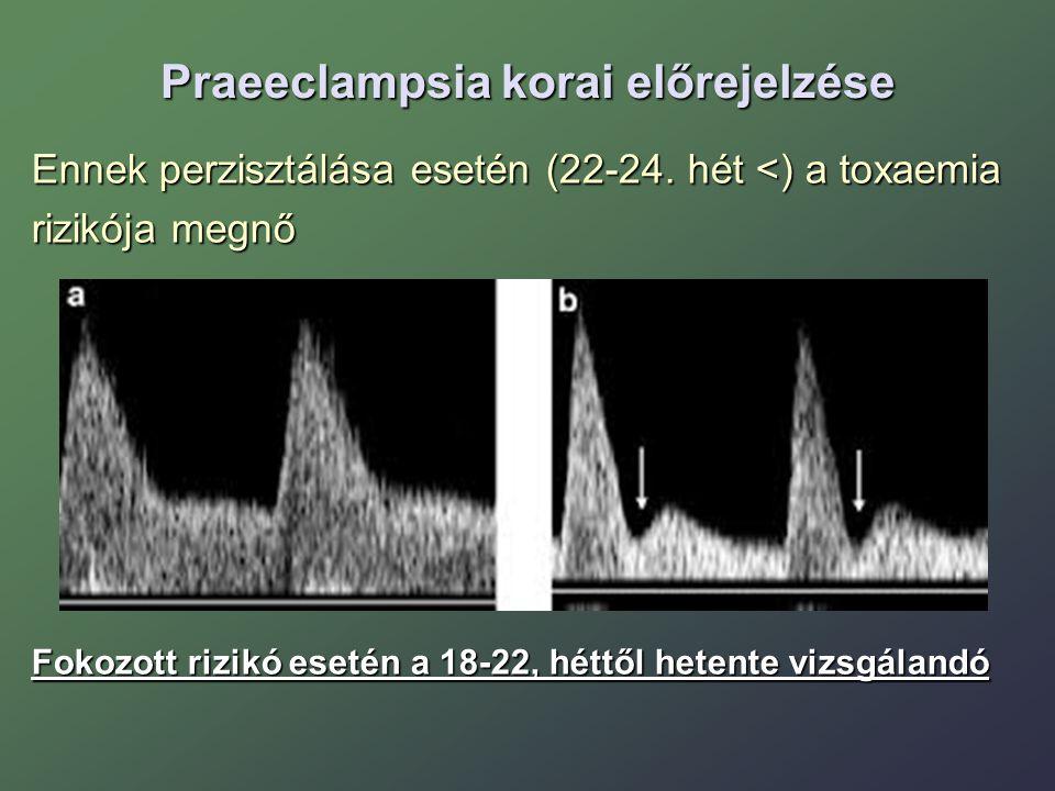 Praeeclampsia korai előrejelzése Ennek perzisztálása esetén (22-24. hét <) a toxaemia rizikója megnő Fokozott rizikó esetén a 18-22, héttől hetente vi