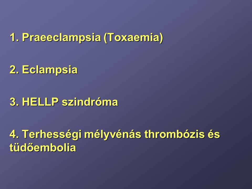 HELLP szindróma diagnózisa Haemolyisis (microangiopathiás haemolitikus anaemia) Indirekt bilirubin emelkedett Serum haptoglobin csökkent (< 25 mg/dl) Total bilirubin: (1,2 mg/dL <) Vizelet: urobilinogén emelkedett, haemoglobinuria