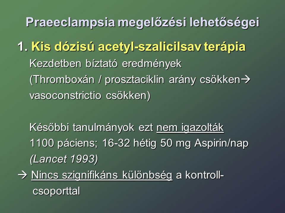 Praeeclampsia megelőzési lehetőségei 1. Kis dózisú acetyl-szalicilsav terápia Kezdetben bíztató eredmények Kezdetben bíztató eredmények (Thromboxán /