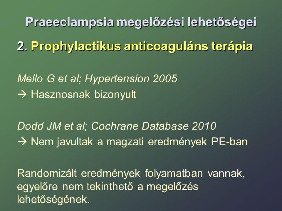 Praeeclampsia megelőzési lehetőségei 2. Prophylactikus anticoaguláns terápia Mello G et al; Hypertension 2005  Hasznosnak bizonyult Dodd JM et al; Co