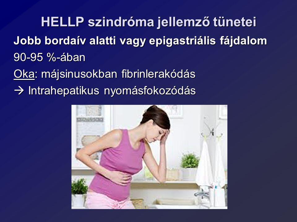 HELLP szindróma jellemző tünetei Jobb bordaív alatti vagy epigastriális fájdalom 90-95 %-ában Oka: májsinusokban fibrinlerakódás  Intrahepatikus nyom