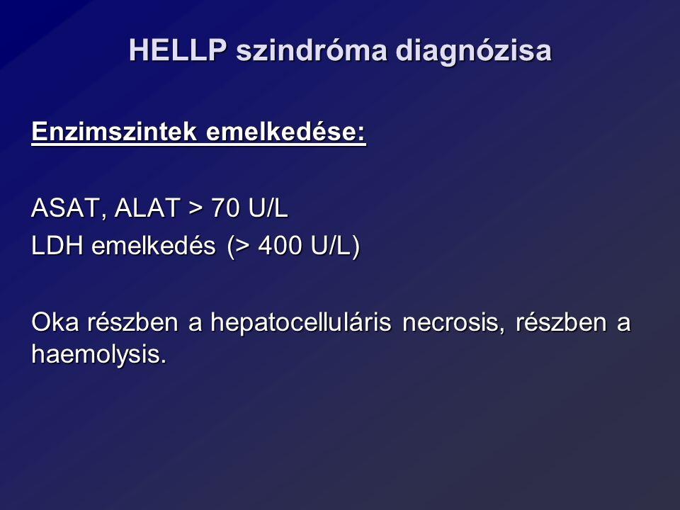 HELLP szindróma diagnózisa Enzimszintek emelkedése: ASAT, ALAT > 70 U/L LDH emelkedés (> 400 U/L) Oka részben a hepatocelluláris necrosis, részben a h