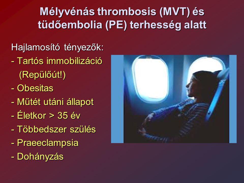 Mélyvénás thrombosis (MVT) és tüdőembolia (PE) terhesség alatt Hajlamosító tényezők: - Tartós immobilizáció (Repülőút!) (Repülőút!) - Obesitas - Műtét
