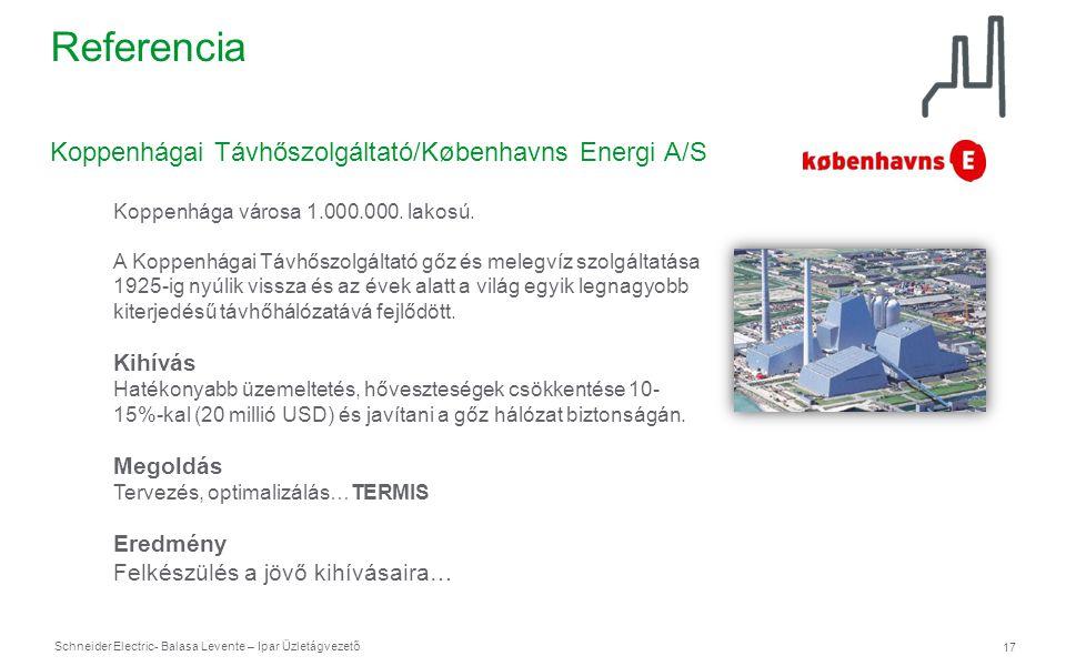 Schneider Electric 17 - Balasa Levente – Ipar Üzletágvezető Referencia Koppenhágai Távhőszolgáltató/Københavns Energi A/S Koppenhága városa 1.000.000.