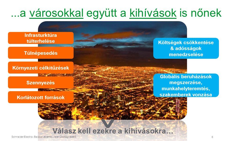 Schneider Electric 7 - Balasa Levente – Ipar Üzletágvezető A városoknak intelligensebbeknek kell lenniük Azáltal, hogy hatékonyabbak, fenntarthatóbbak és élhetőbbek legyenek.