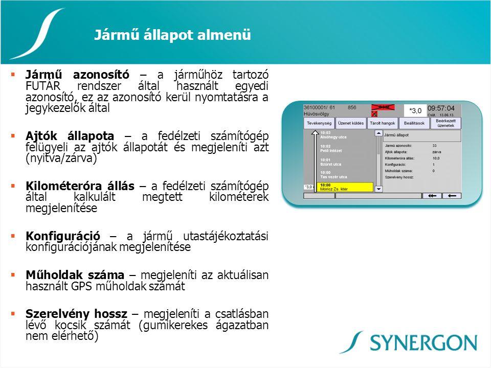 Jármű állapot almenü  Jármű azonosító – a járműhöz tartozó FUTÁR rendszer által használt egyedi azonosító, ez az azonosító kerül nyomtatásra a jegyke