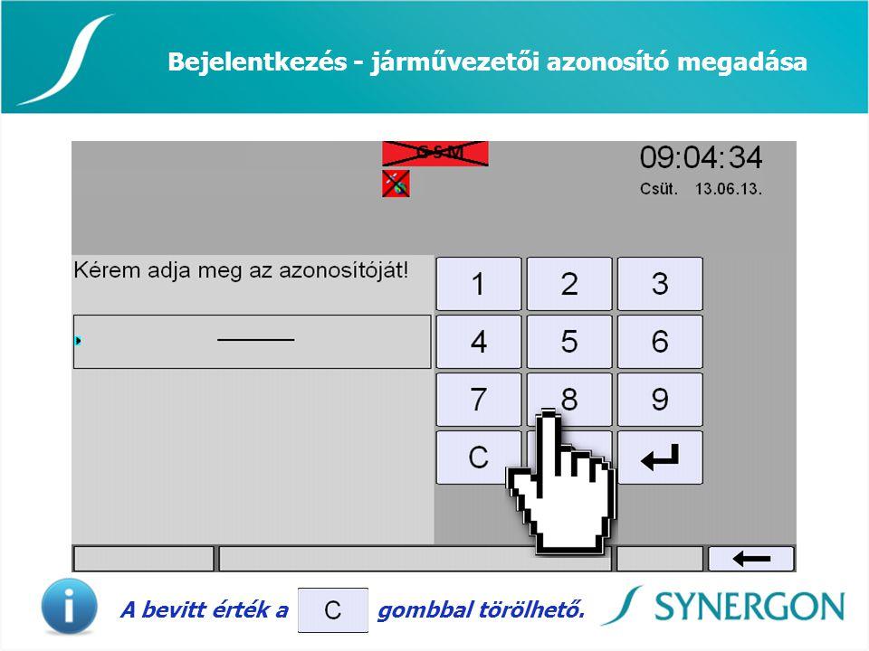 Bejelentkezés - járművezetői azonosító megadása A bevitt érték a gombbal törölhető.