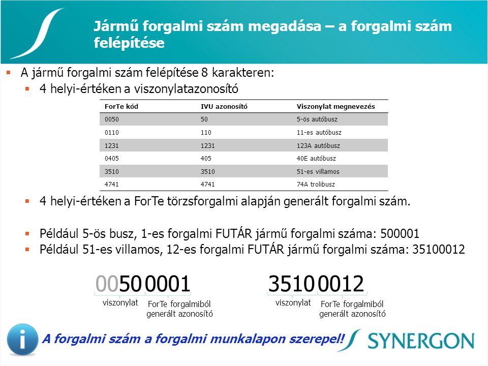 Jármű forgalmi szám megadása – a forgalmi szám felépítése 0050 0001 viszonylat ForTe forgalmiból generált azonosító  A jármű forgalmi szám felépítése