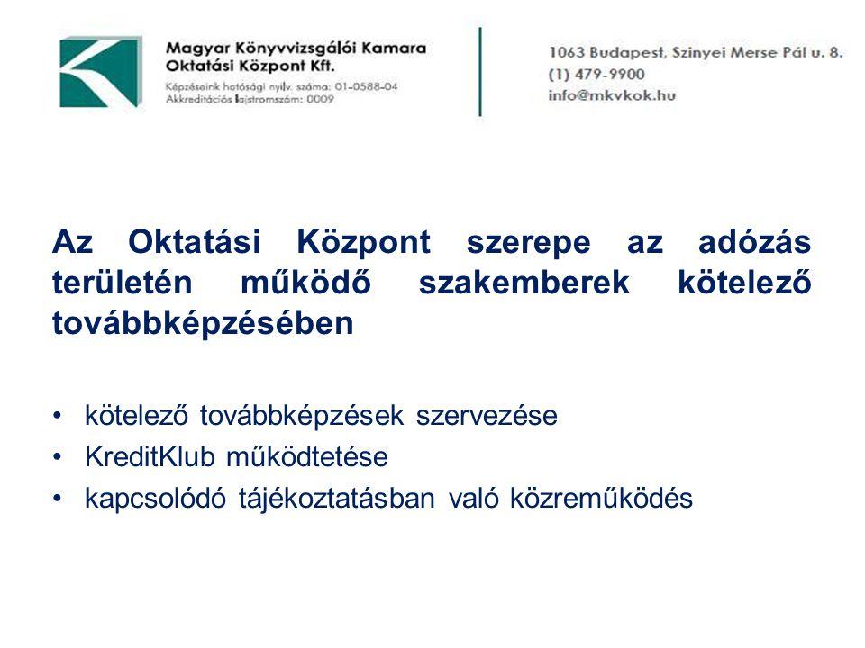 Az Oktatási Központ szerepe az adózás területén működő szakemberek kötelező továbbképzésében •kötelező továbbképzések szervezése •KreditKlub működtetése •kapcsolódó tájékoztatásban való közreműködés