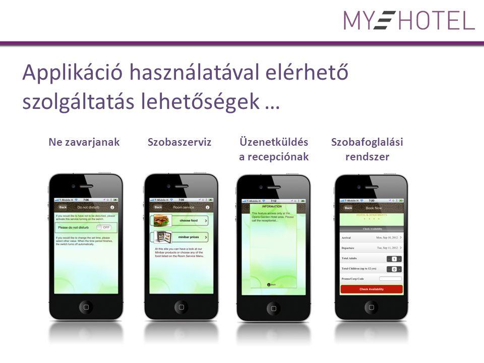 Applikáció használatával elérhető szolgáltatás lehetőségek … Ne zavarjanak Szobaszerviz Üzenetküldés a recepciónak Szobafoglalási rendszer